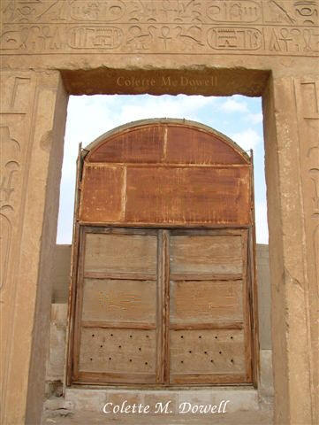Image of Door in Valley Temple near Sphinx in Giza Egypt photograph by Colette Dowell