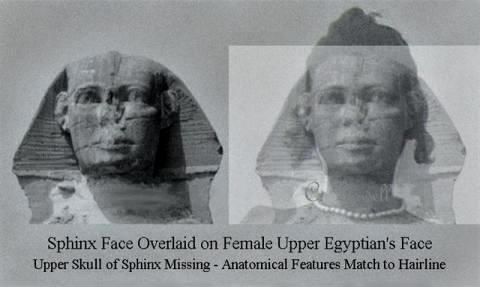 Image of Sphinx face and Upper Egyptian female is Sphinx missing part of its head?
